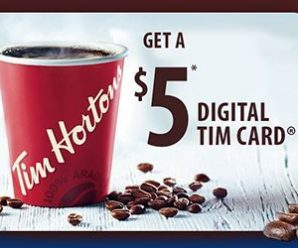 $5 Tim Hortons Digital Tim Card